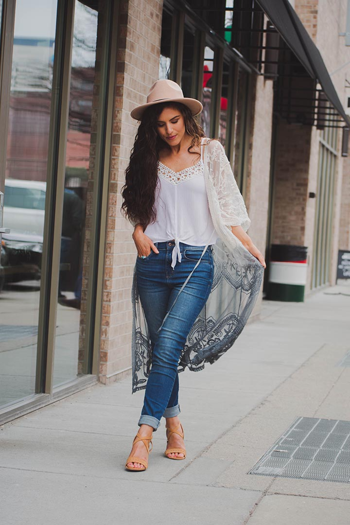 Soleil Lace Crochet Grey Dip Dyed Kimono Duster - Curvy - Barefoot Dreamer