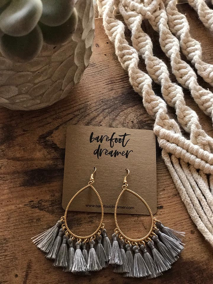 Kai Teardrop Tassel Earrings - Grey - Barefoot Dreamer