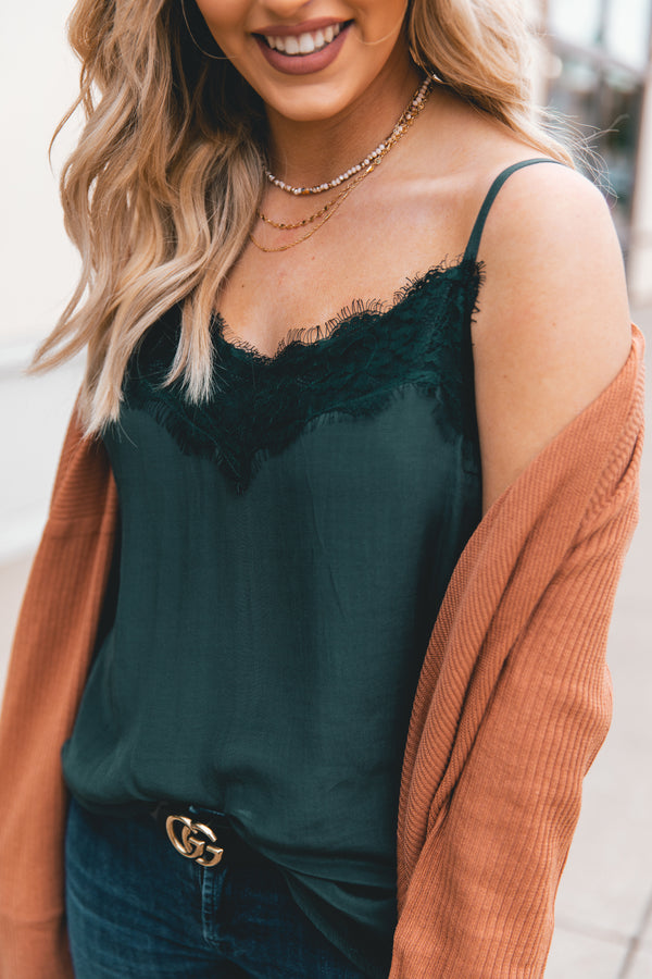 The Delilah Lace Detailed Cami - Hunter Green - Chelcey Tate Designs