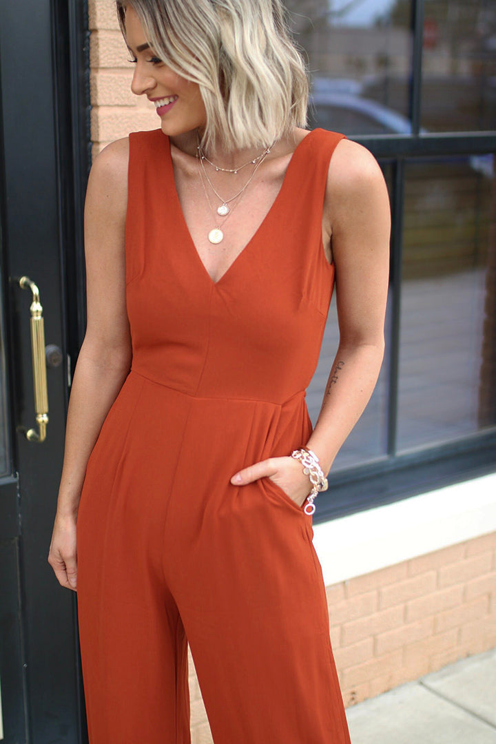 Cyan Rust Sleeveless Open Back Jumpsuit - Barefoot Dreamer