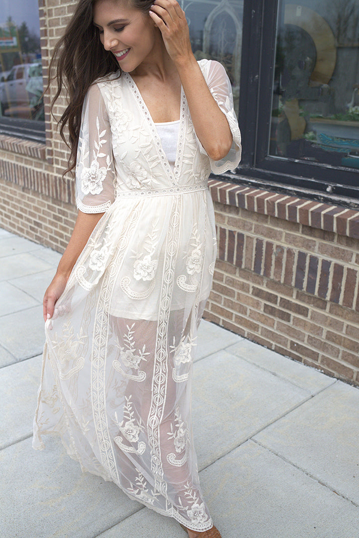 Amelia Embroidered Lace Maxi Romper -Ivory - Barefoot Dreamer