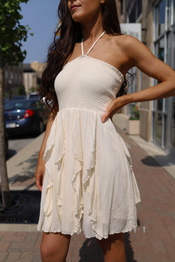 Kinley Ivory Ruffled Halter Dress - Barefoot Dreamer