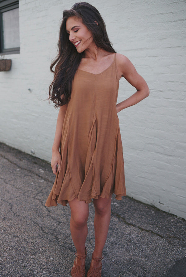 Evie Sleeveless Flare Dress - Camel - Barefoot Dreamer