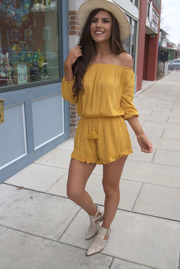 Solana Yellow Off Shoulder Swiss Dot Ruffled Romper - Barefoot Dreamer