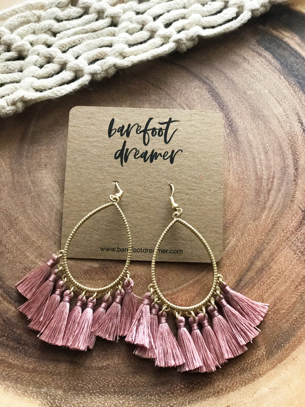 Kai Teardrop Tassel Earrings - Mauve - Barefoot Dreamer