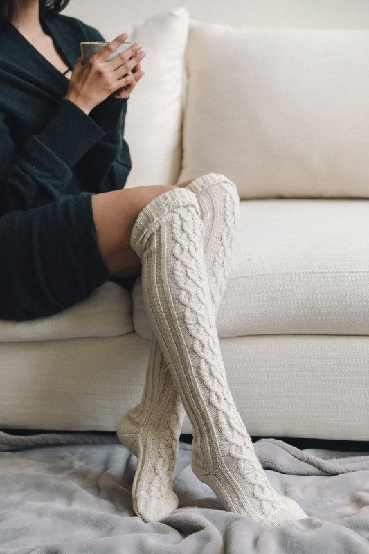 Hayden Over The Knee Cable Knit Socks - Barefoot Dreamer