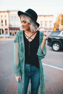 Lacy Dreams Sheer Kimono Duster - Sage - Barefoot Dreamer