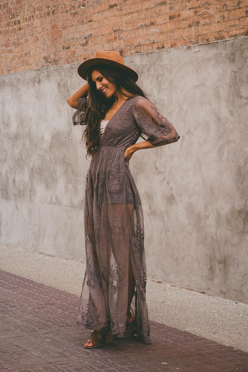 Amelia Embroidered Lace Maxi Romper - Midnight - Barefoot Dreamer