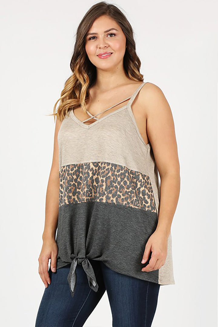 Leopard Love Criss Cross Colorblock Tank Top - Curvy - Barefoot Dreamer
