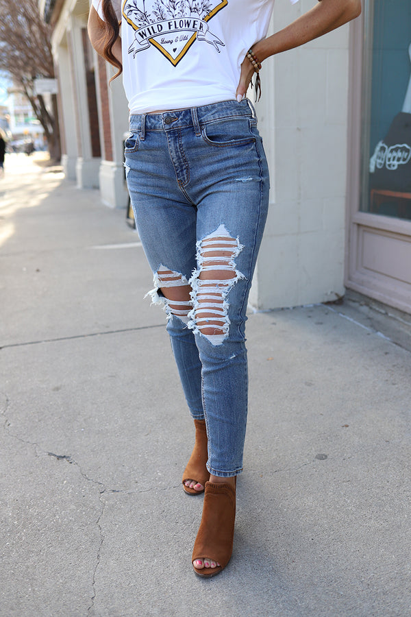 Let 'er Rip Distressed High-Rise Skinny Jeans - Barefoot Dreamer