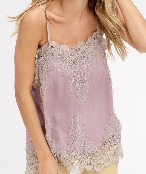 Chloe Lace Detailed Cami - Mauve - Barefoot Dreamer