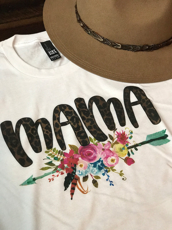 Mama Floral Arrow Graphic Tee with Leopard Print - Barefoot Dreamer