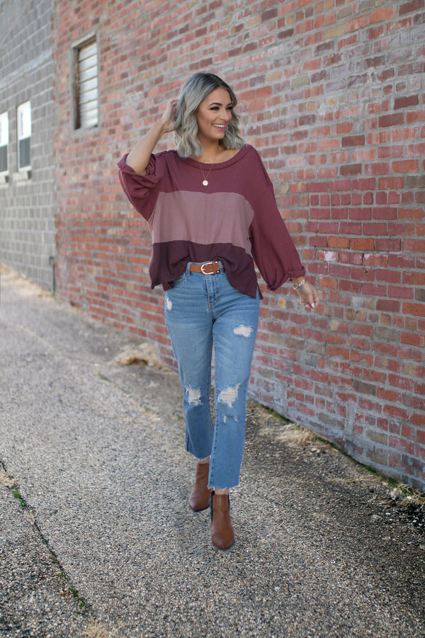 Raven Colorblock Waffle Knit Top - Barefoot Dreamer