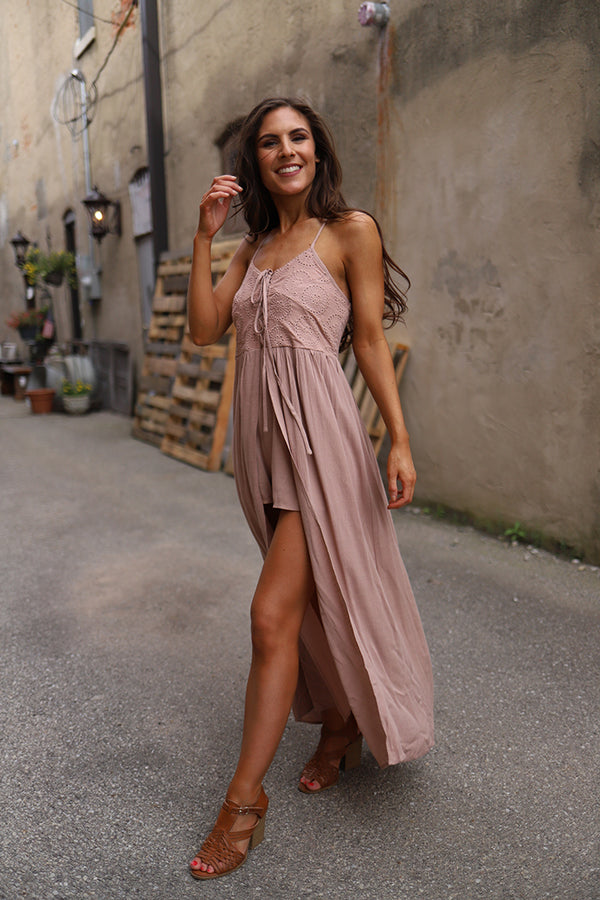 Ariena Lace Up Embroidered Maxi Romper - Dusty Rose - Barefoot Dreamer