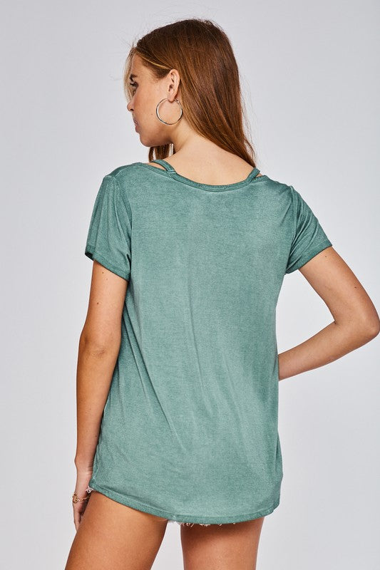 Lydia Cut Out Short Sleeve Knit Top - Mint - Barefoot Dreamer