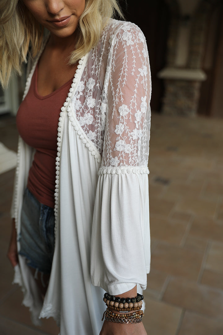 Ariana Lace Detailed Cardigan - White - Barefoot Dreamer