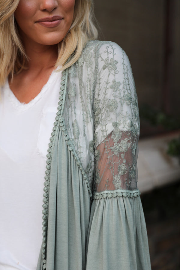 Ariana Lace Detailed Cardigan - Sage - Barefoot Dreamer