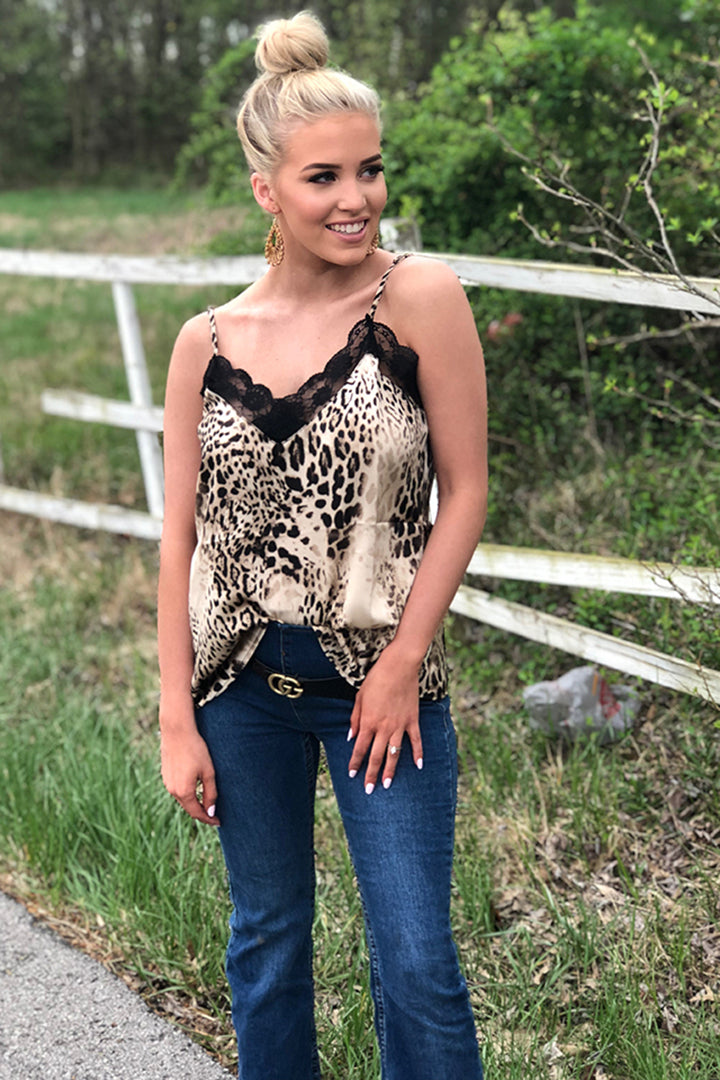 So Fierce Leopard Print Lace Cami - Taupe - Barefoot Dreamer