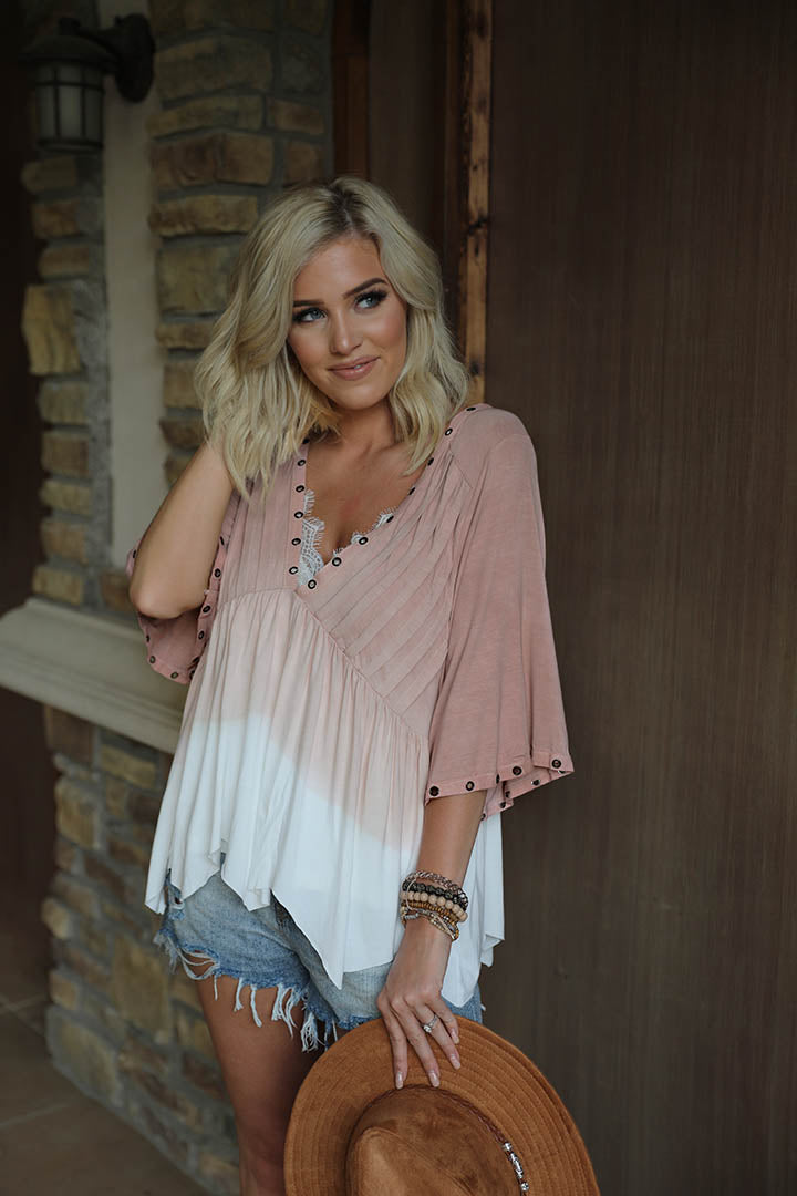 Bellamy Eyelet Detail Dip Dyed Top- Ivory/Dusty Rose - Barefoot Dreamer