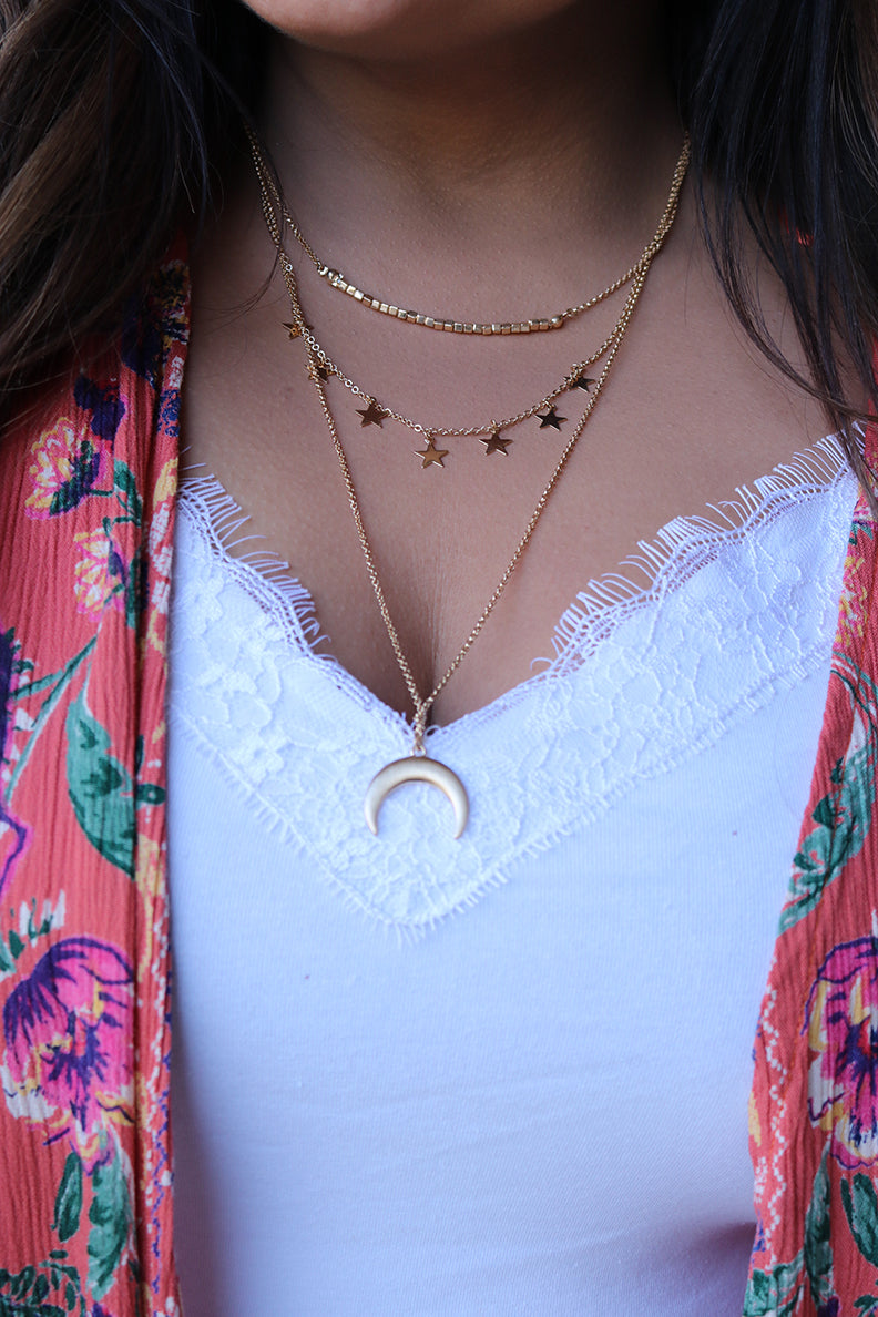 Moon Child Half Moon and Star Layered Necklace - Barefoot Dreamer