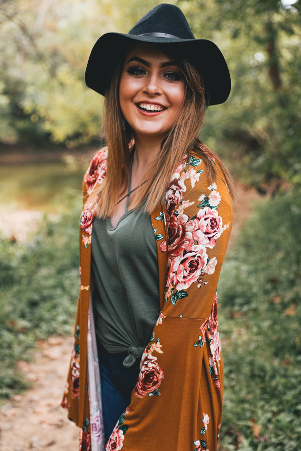 Wildflower Long Bell Sleeved Duster Cardigan - Mustard - Barefoot Dreamer