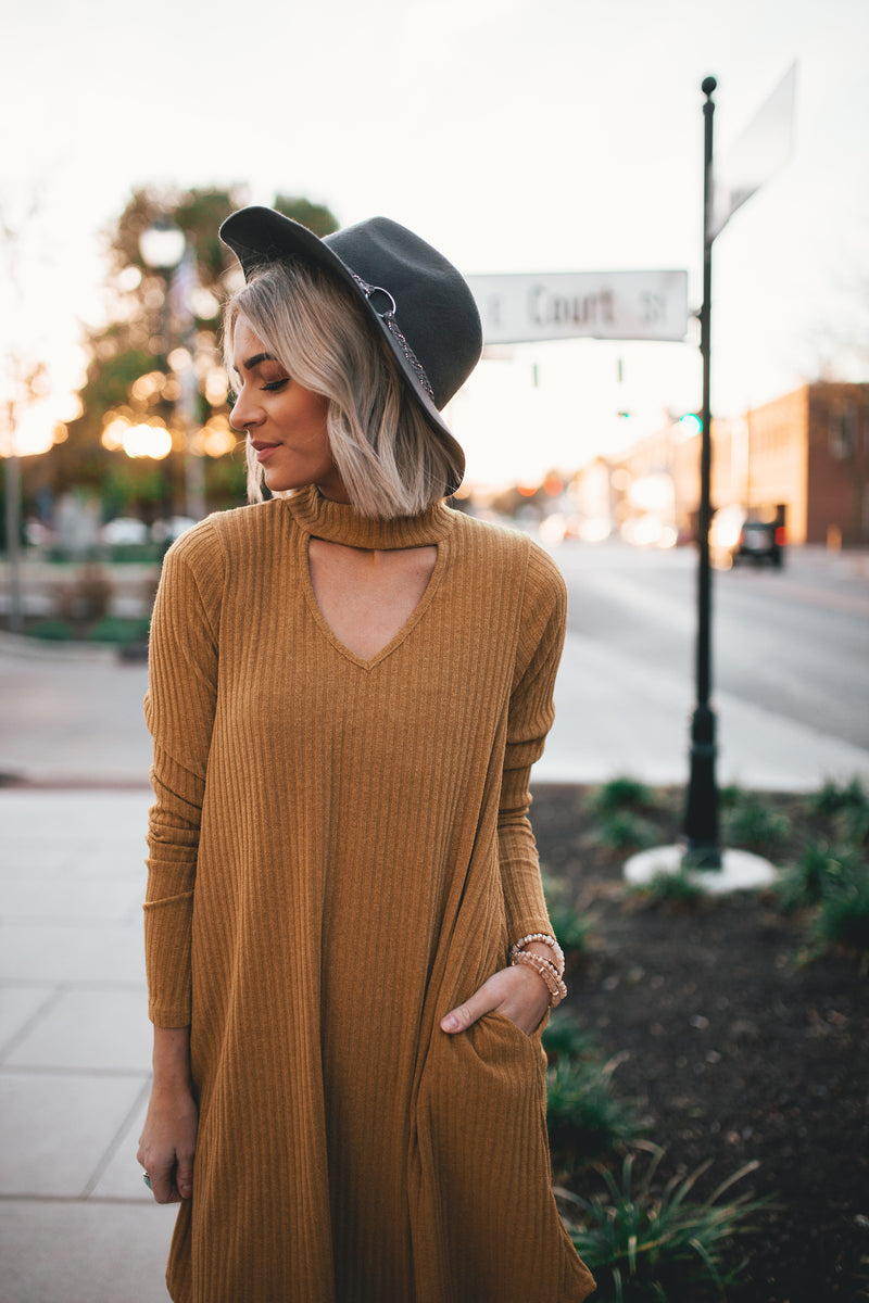 Addison Ribbed Choker Dress - Mustard - Barefoot Dreamer