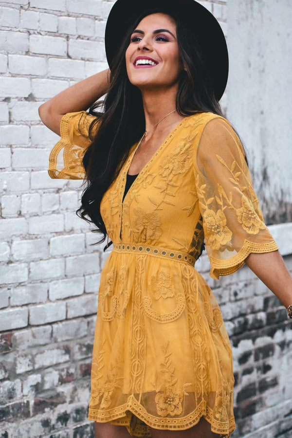 Olivia Embroidered Lace Romper - Mustard - Barefoot Dreamer