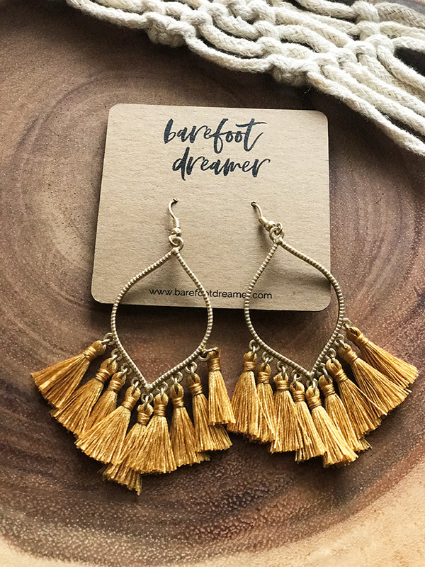 Nico Teardrop Tassel Earrings - Mustard - Barefoot Dreamer