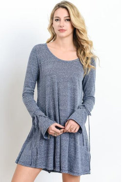 Wide Neck Long Sleeve Tunic - Navy - Barefoot Dreamer