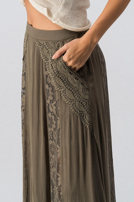 Zoey Crochet Lace Detail Maxi Skirt - Olive - Barefoot Dreamer