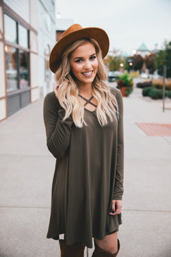 Aria Front Cross Strap Knit Dress - Olive - Barefoot Dreamer