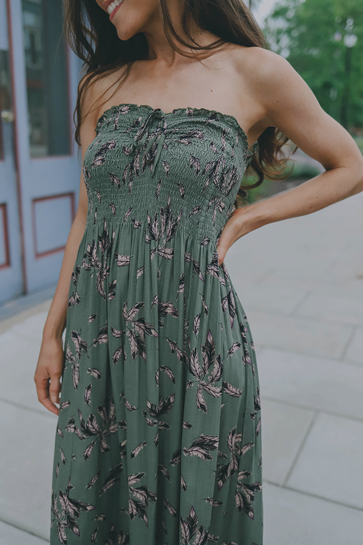 Song Bird Smocked Halter Maxi Dress - Olive - Barefoot Dreamer