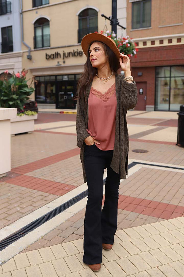 Brielle Slouchy Knit Cardigan- Olive - Barefoot Dreamer