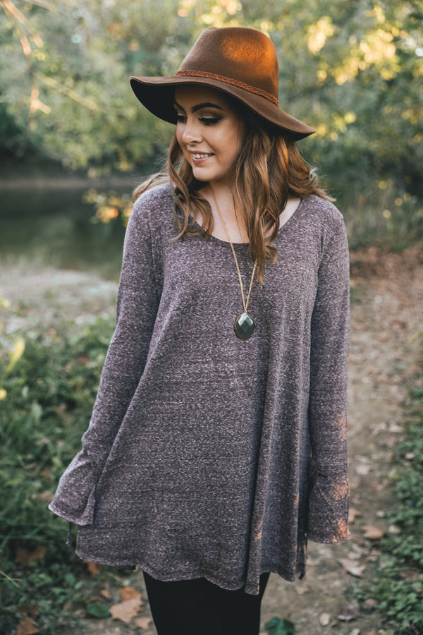 Wide Neck Long Sleeve Tunic - Barefoot Dreamer