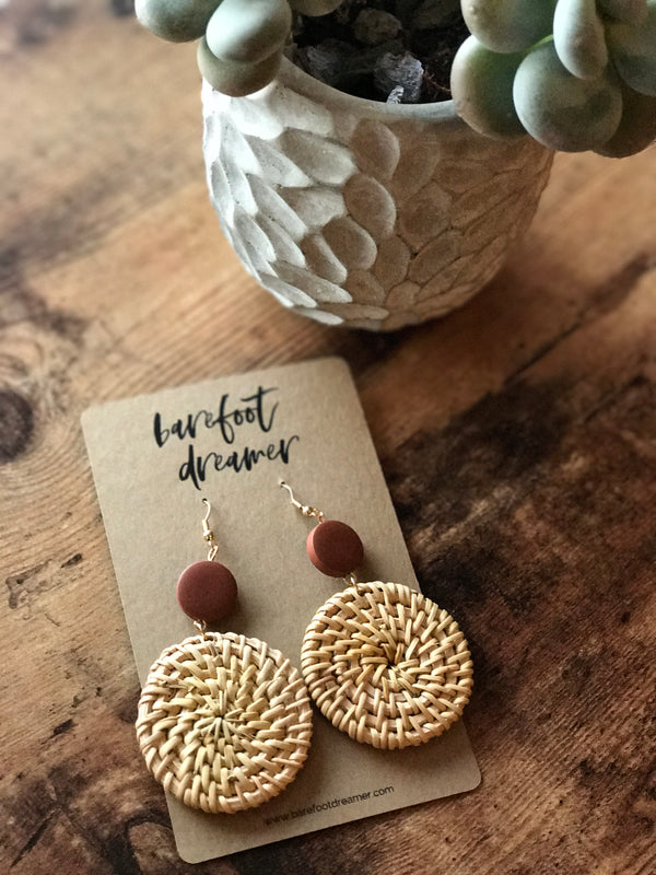 Taahira Rattan Woven Full Moon Earrings - Barefoot Dreamer