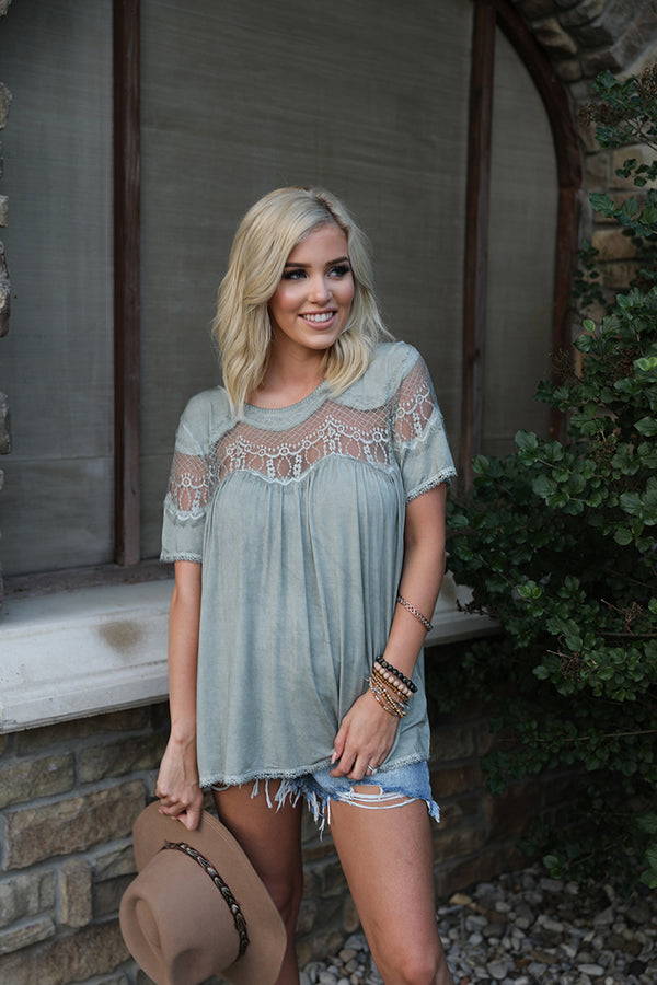 Ryleigh Mesh Lace Top - Olive