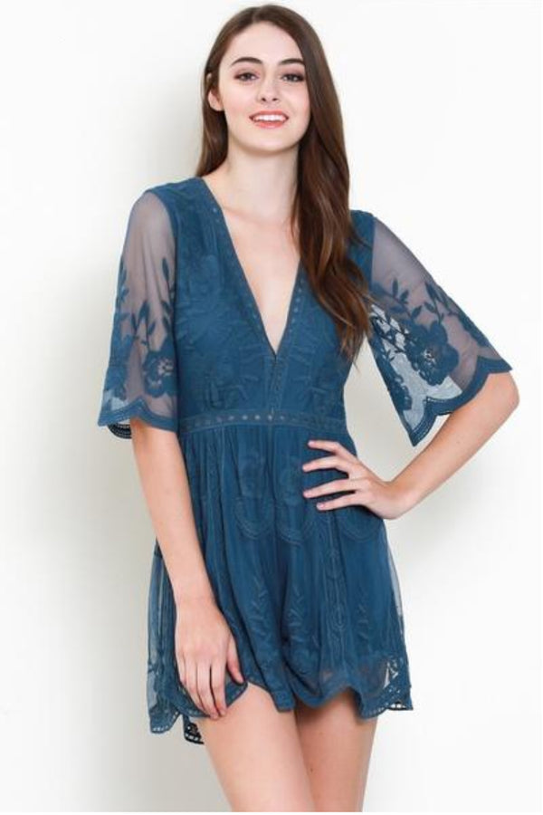 Olivia Embroidered Lace Romper - Teal - Barefoot Dreamer