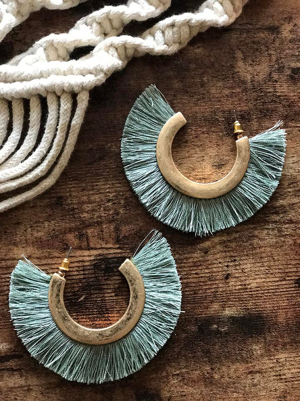 Kaya Fan Tassel Earrings - Sage - Barefoot Dreamer