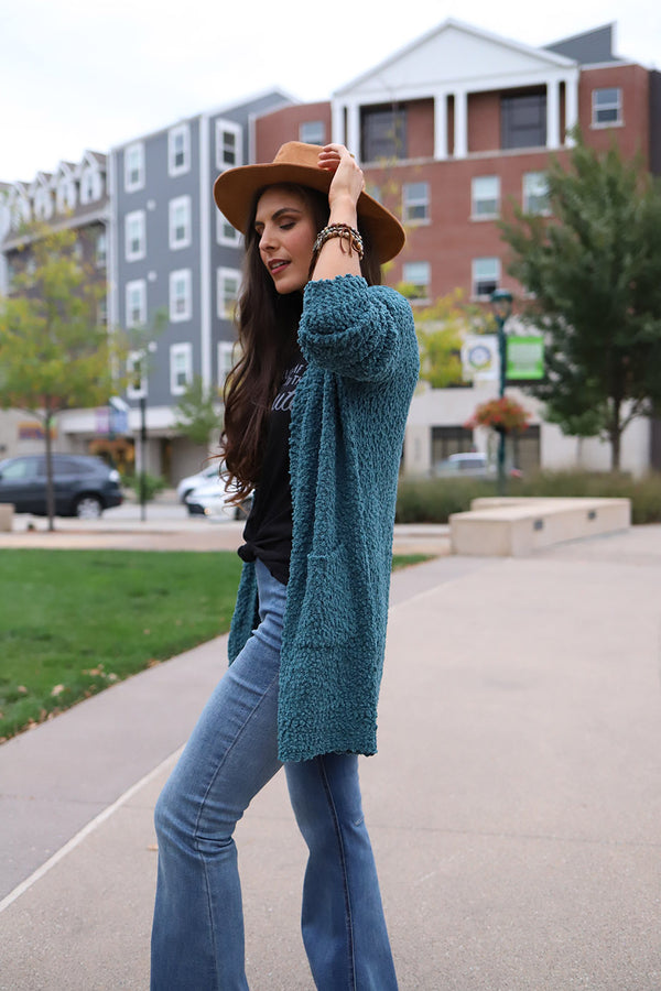 Seagan Chunky Knit Popcorn Cardigan - Teal - Barefoot Dreamer