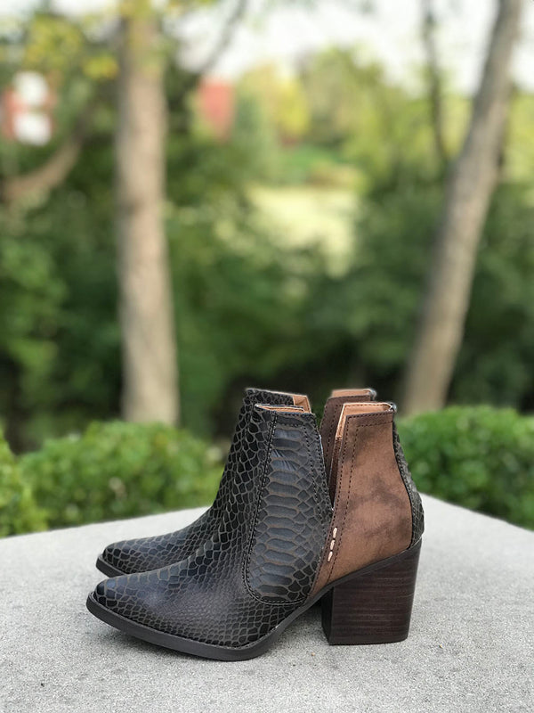 Rattle Me Snakeskin Contrast Booties - Barefoot Dreamer