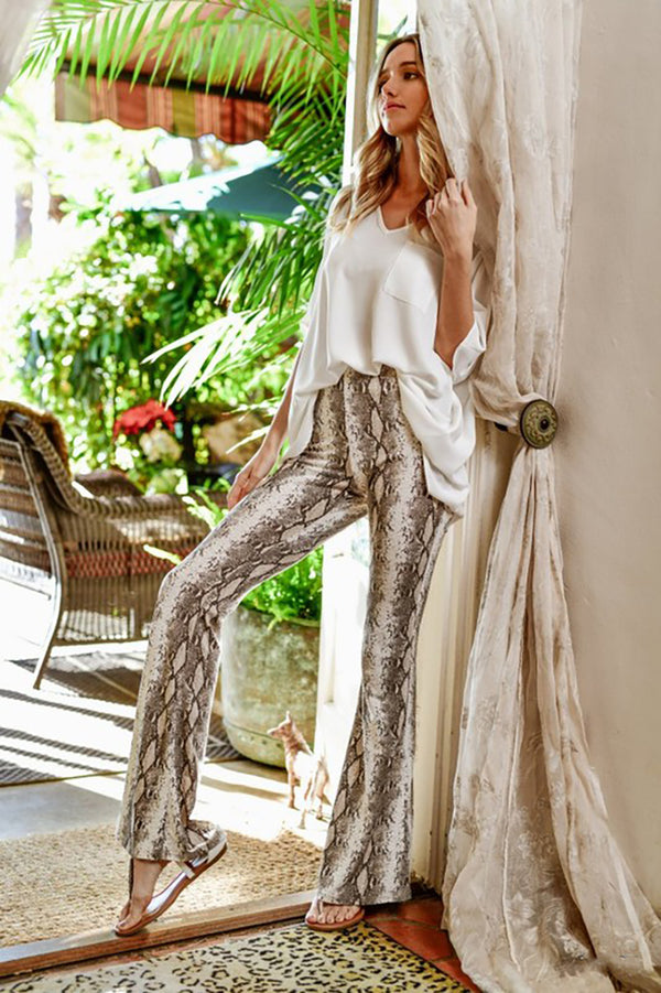 Twice Biten Snakeskin High Waisted Flare Pants - Taupe - Barefoot Dreamer
