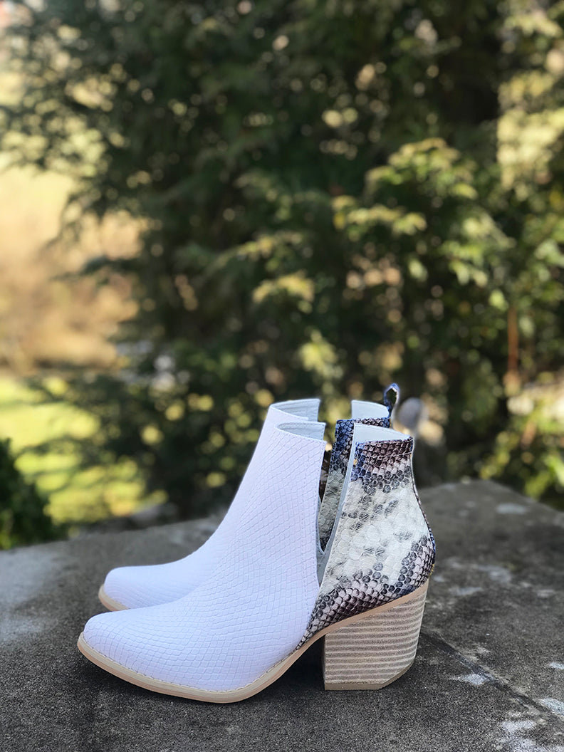 Reagan Snakeskin White Ankle Booties - Barefoot Dreamer