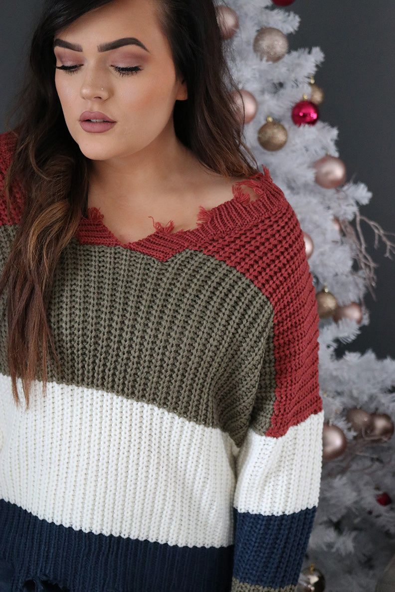 Autumn Distressed Color block Knit Sweater - Olive/Ivory - Barefoot Dreamer