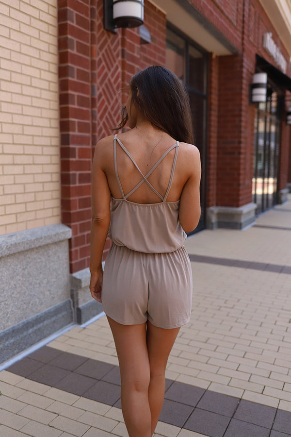Summer Days Not So Basic Romper - Taupe