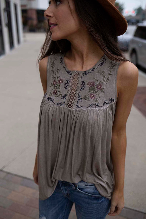 Ainsley Embroidered Detail Knit Top - Moss Brown - Barefoot Dreamer