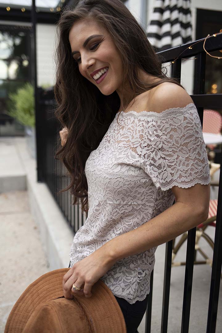 Haelyn Lace Scalloped Off Shoulder Top - Taupe - Barefoot Dreamer