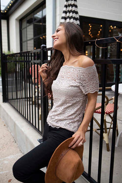 Haelyn Lace Scalloped Off Shoulder Top - Taupe