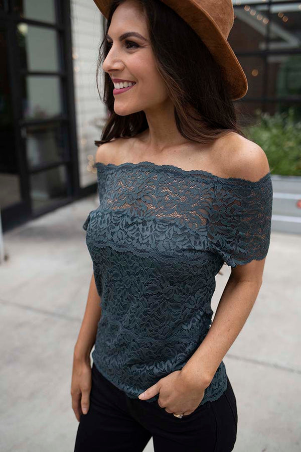Haelyn Lace Scalloped Off Shoulder Top - Dark Teal