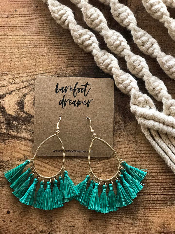 Kai Teardrop Tassel Earrings - Teal - Barefoot Dreamer