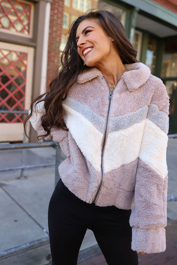 Nova Chevron Fuzzy Teddy Bear Jacket